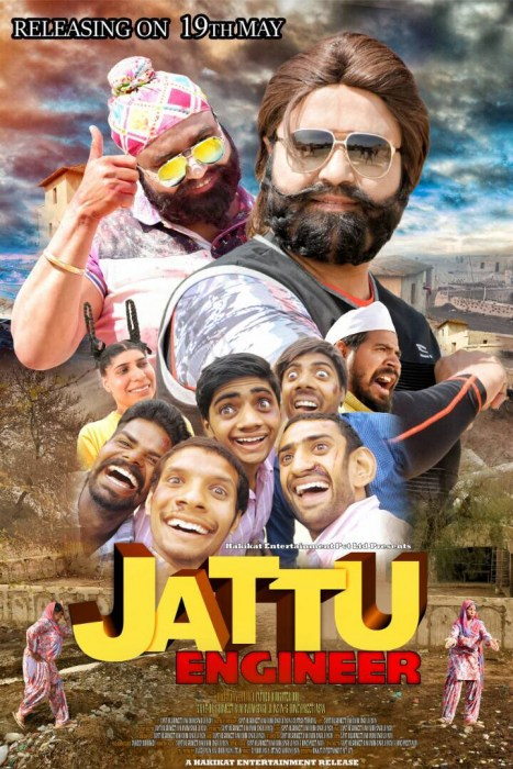 First poster for @[1]jattu-engineer starring father daughter duo. There is no stopping to Saint Dr.